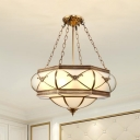 Brass 4 Heads Flush Mount Lamp Traditionalism Sandblasted Glass Bowl Ceiling Fixture for Dining Room