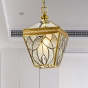 Vintage Lantern Hanging Pendant 1 Head Bubble Glass Suspended Lighting Fixture in Gold for Bedroom