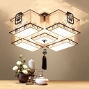 White 5 Lights Flush Mount Fixture Traditional Fabric Rectangle Ceiling Mounted Light for Living Room, 20.5