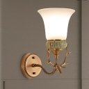 1 Light Bell Wall Mount Light Retro Brass Opal Glass Sconce Lamp Fixture with Antlers Curved Arm