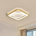 Square Wood Flush Light Modernism Beige LED Ceiling Mounted Light for Bedroom, 13