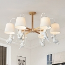 Modern Tapered Fabric Hanging Chandelier 6 Lights Ceiling Pendant Light in White with Bird Deco