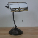 Stained Glass Beaded Task Light Tiffany 1 Head White Table Lamp for Reading Room
