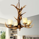 Sputnik Living Room Pendant Chandelier Rustic Resin 4/6/8 Heads Brown Ceiling Hanging Light