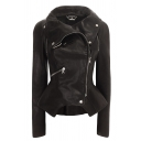 Cool Street Girls' Long Sleeve Turn Down Collar Zipper Decoration Buckle Eyelet Belt Asymmetric Fitted Leather Jacket in Black