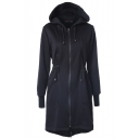Simple Women's Long Sleeve Hooded Zipper Front Drawstring Pockets Side Plain Slim Fit Midi Coat