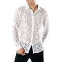 New Arrival Plain White Floral Printed Long Sleeve Button Up Sheer Lace Shirt
