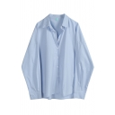 Casual Street Women's Blouson Sleeve Lapel Neck Button Front Baggy Plain Shirt