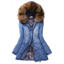 Trendy Ladies' Long Sleeve Hooded Drawstring Flap Pockets Fluffy Trim Slim Fit Thick Denim Coat in Blue