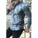 Hawaii Style Floral Printed Long Sleeve Turn-Down Collar Single Breasted Shirt for Men