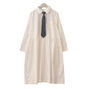 Female Basic Plain Long Sleeve Lapel Collar Button Front Pleated Oversize Mid Shirt Dress with Plaid Print Tie