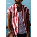 Guys Leisure Street Style Loose Fit Long Sleeve Single Breasted Striped Shirt