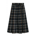 Preppy Looks High Waist Zipper Side Plaid Printed Maxi Relaxed Pleated A-Line Skirt for Girls