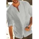 Street Fashion Plain Half Sleeve V-Neck Relaxed Fit Linen Blouse for Men