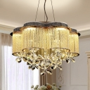Modernist Scalloped Ceiling Chandelier Clear Crystal LED Dining Room Pendant Lamp in Gold