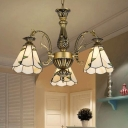 Cut Glass Cone Chandelier Light Fixture Tiffany-Style 3/5/9 Bulbs Brass/White Suspension Lighting for Living Room