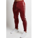Mens Casual Drawstring Waist Side Stripe Fitted Sweatpants Cotton Pants