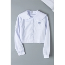 White Simple Long Sleeve Peter Pan Collar Button Down Floral Embroidered Pocket Patched Relaxed Crop Shirt for Girls