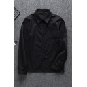 Cool Women's Long Sleeve Lapel Collar Button Down Pocket Patched Loose Shirt in Black