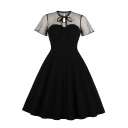 Vintage Girls' Short Sleeve Crew Neck Bow Tie Polka Dot Print Sheer Mesh Patched Cut Out Midi Plain Pleated Flared A-Line Dress