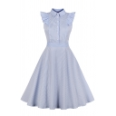 Blue Cute Sleeveless Lapel Neck Button Front Stripe Ruffled Trim Midi Pleated Flared Shirt Dress for Girls
