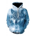 Mens Casual Wolf 3D Printed Long Sleeve One Pocket Blue Drawstring Hoodie