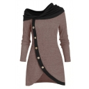 Casual Women's Long Sleeve Asymmetric Neck Button Down Contrasted Fitted Short Wrap A-Line Dress