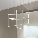 White Rectangle Island Chandelier Light Simple Style Metal LED Hanging Ceiling Light in Warm/White/Natural Light, 23.5