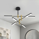 Acrylic Sputnik Pendant Chandelier Light Contemporary 4/6 Heads Black and Gold/White and Gold Suspension Light
