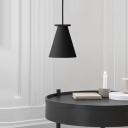 Contemporary 1 Bulb Hanging Lamp Black/Light Grey Trumpet Pendant Light Fixture with Metal Shade