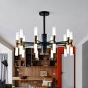 Black Radial Pendant Lamp Modernism Multi Light Indoor Ceiling Chandelier with Linear Glass Shade