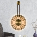 Pendulum Wall Lamp with Round Cognac Glass Shade Led Art Deco Wall Light Fixture