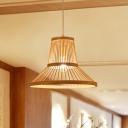 Cone Living Room Ceiling Pendant Light Bamboo 1 Light Asia Style Hanging Lamp in Wood