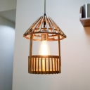 Asia Pavilion Shaped Hanging Lamp Bamboo 1 Light Dining Room Suspension Pendant in Wood
