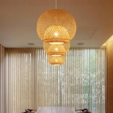 Sphere Dining Room Pendant Lighting Fixture Bamboo 14