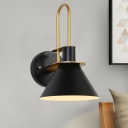 1 Light Dining Room Wall Mounted Light Modern Style Black/White/Green Sconce Lamp with Conical Metal Shade