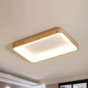 Wood Rectangle Flush Mount Ceiling Light Modern Style LED Beige Flushmount Lighting in Warm/White Light