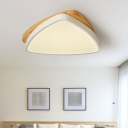 Triangle Bedroom Ceiling Mounted Light Wood Minimalist LED Flush Mount Lamp in White