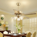 Milk Glass Gold Ceiling Fan Lamp Floral 3 Heads Traditional Semi Flush Mount Light for Living Room