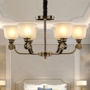 6 Bulbs Sandblasted Glass Hanging Chandelier Traditionalism Black and Gold Bell Dining Table Pendant Lighting Fixture