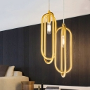 Minimalist Oval Metal Down Lighting 1 Light Hanging Pendant Light in Brass for Living Room