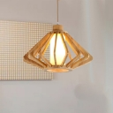 Laser Cut Pendant Lighting Japanese Wood 1 Head Beige Ceiling Hanging Light, 13