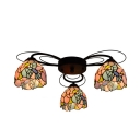 Bowl Semi Flush Mount Lighting Tiffany Multicoloured Stained Glass 3/7/9 Heads Orange/Green/Red Ceiling Fixture