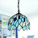 Stained Glass Blue Drop Pendant Dome 1 Light Baroque Stylish Hanging Ceiling Light for Bedroom