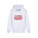 Unisex Popular Flag Letter Paris Hand Print Long Sleeve Double Pockets Pullover Hoodie
