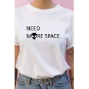 Popular NEED MORE SPACE Alien Pattern Short Sleeve Round Neck Loose Fit Casual T-Shirt