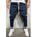 Mens Active Popular Stripe Trim Drawstring Waist Solid Color Skinny Fit Cotton Pants