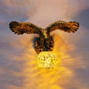 1 Light Sconce Light Tiffany Eagle Stained Art Glass Wall Lighting Fixture in Beige/Red/Yellow