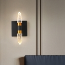 Linear Bedroom Wall Mount Light Modern Bubble Crystal 1/2/3 Heads Gold/Black Wall Lighting Fixture in Warm/White Light
