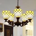 5 Lights Bedroom Chandelier Lighting Fixture Tiffany Black Hanging Lamp Kit with Beaded Beige Glass Shade